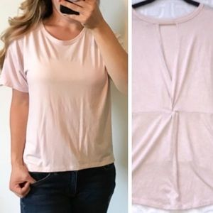 ATHLETA Light Pink Hi Lo Twist Back T-Shirt Small